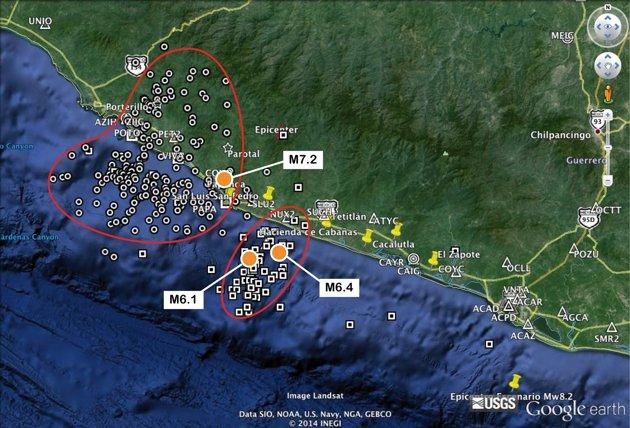 En la imagen se delimitan las zonas de ruptura producto de los recientes sismos ocurridos en Guerrero y se muestra dónde han ocurrido las réplicas. FOTO: Departamento de Sismología del Instituto de Geofísica de la UNAM.